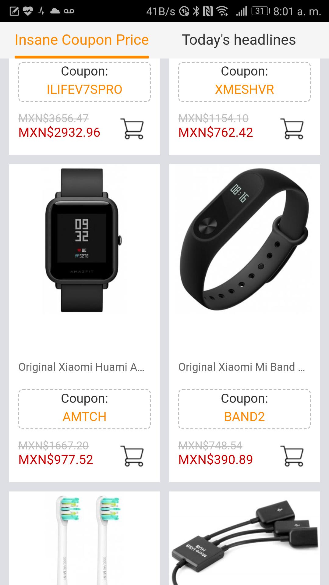 GearBest: Xiaomi Mi band 2. En $ 390.89
