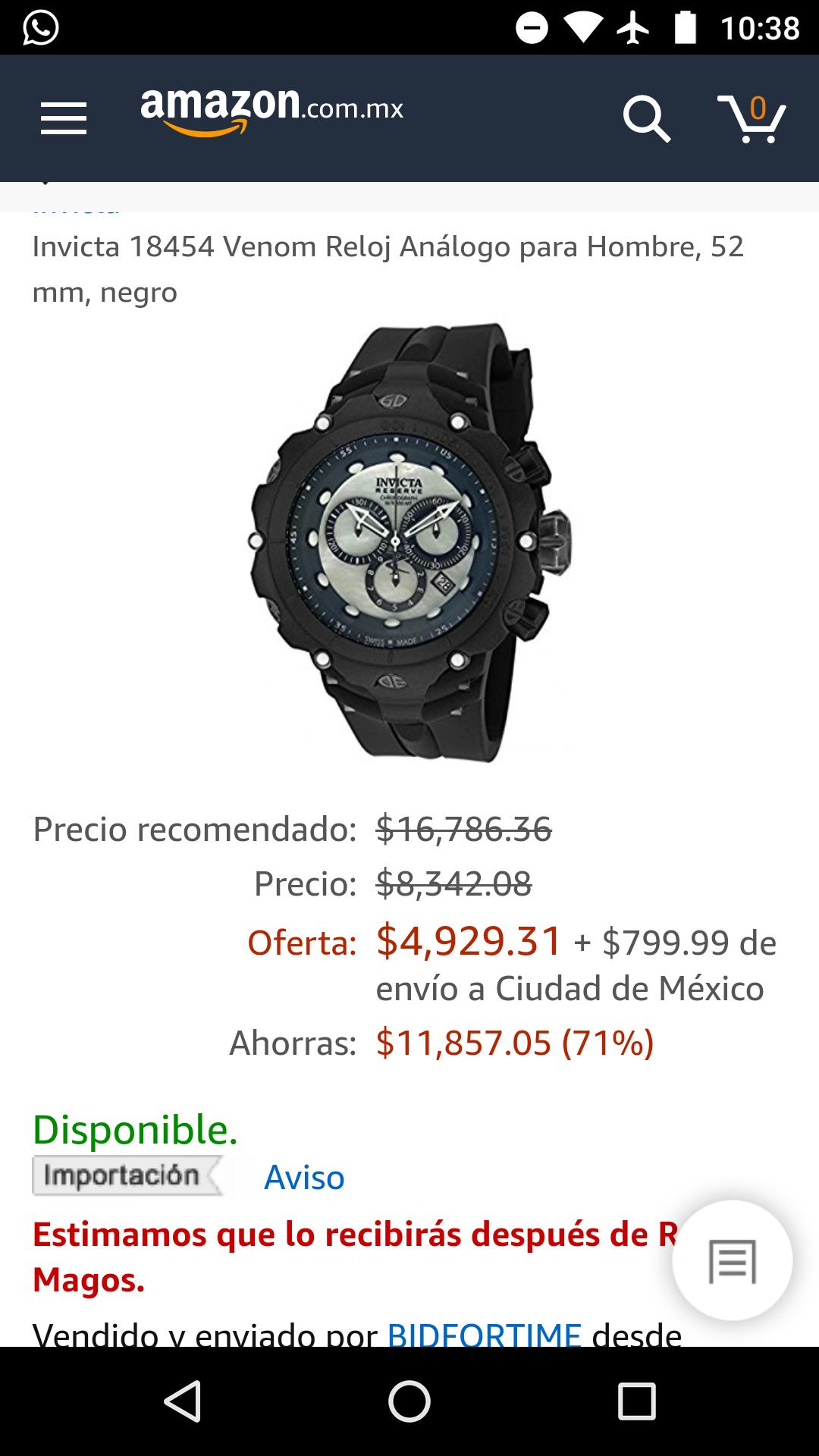 Amazon: Reloj Invicta 18454 venom en descuento (vendido por un tercero)
