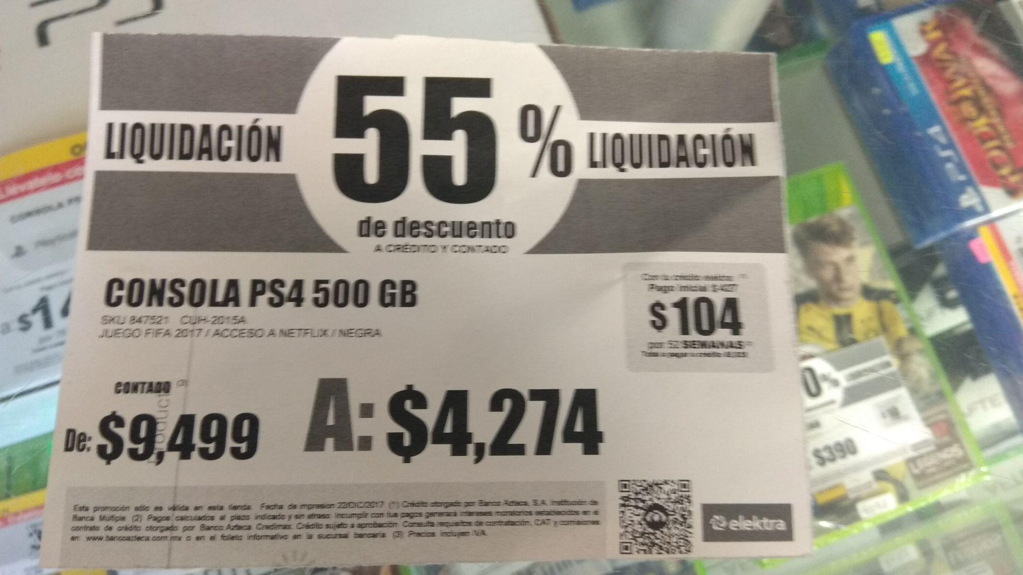 Elektra: Consola PS4 500 gb a $4274.00