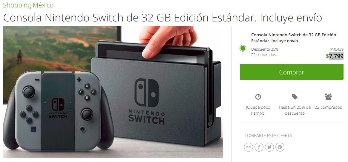 Groupon: Consola Nintendo Switch de 32 GB Edición Estándar