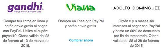 Promociones PayPal en Gandhi, Viana, ebay y Adolfo Domínguez