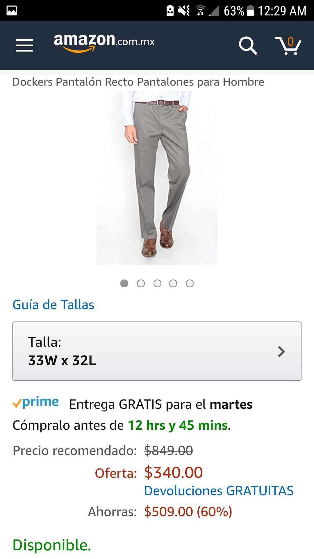 Amazon: Pantalón recto Dockers
