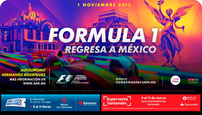 Preventa Gran Premio Fórmula 1 de México a 6 meses sin intereses con Santander y Banamex