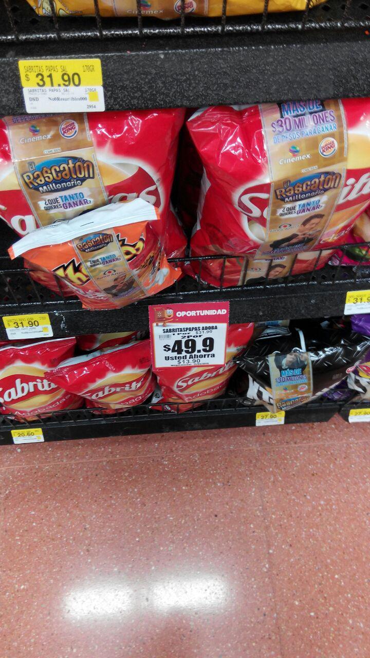 walmart: sabritas adobadas 2 bolsas + cheetos por $49.90