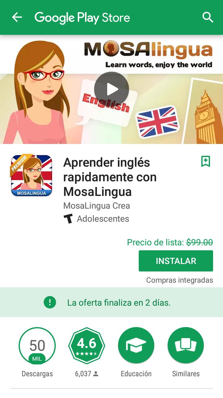 Google Play: Aprender inglés rapidamente con MosaLingua