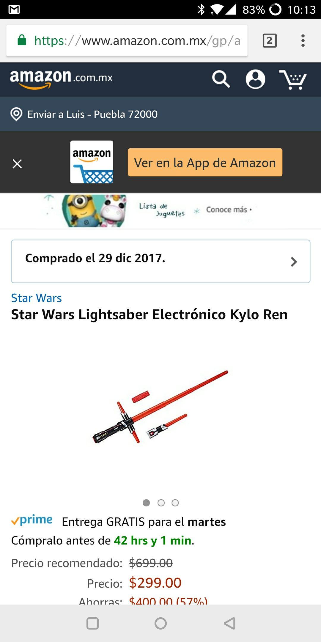 Amazon: Sable electrónico kylo ren