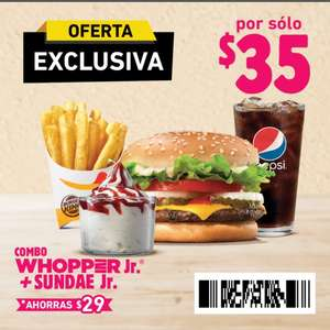 Burger King: Whopper Jr + Papas + Refresco + Sunday Jr