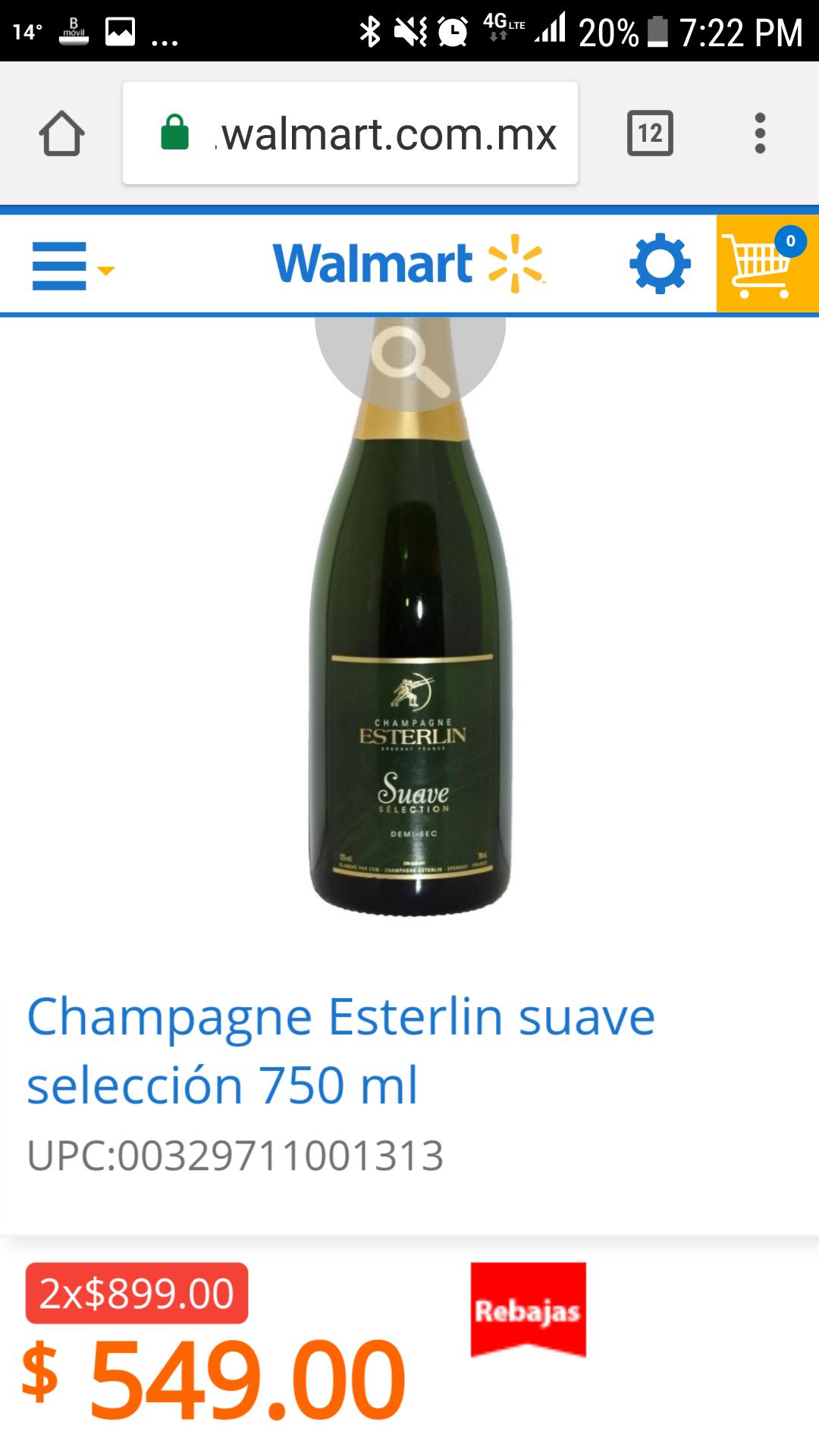 Walmart:  Champagne Esterlin suave selección 750 ml 2 x $899