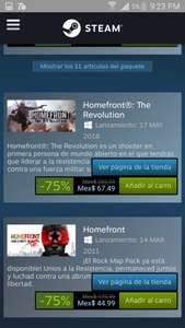 Steam:Homefront the revolution y mas.