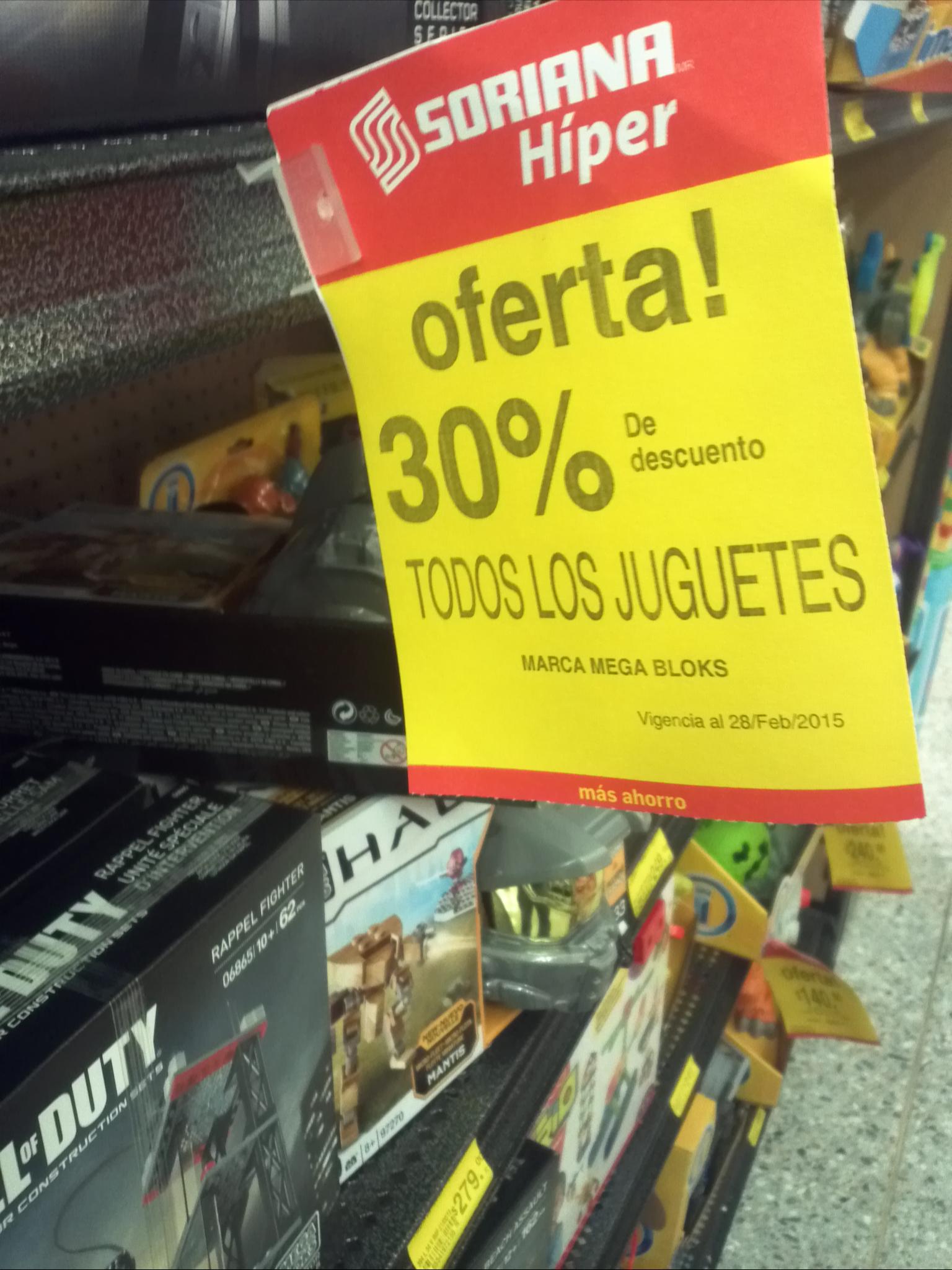 30% de Descuento en juguetes Mega Bloks Soriana