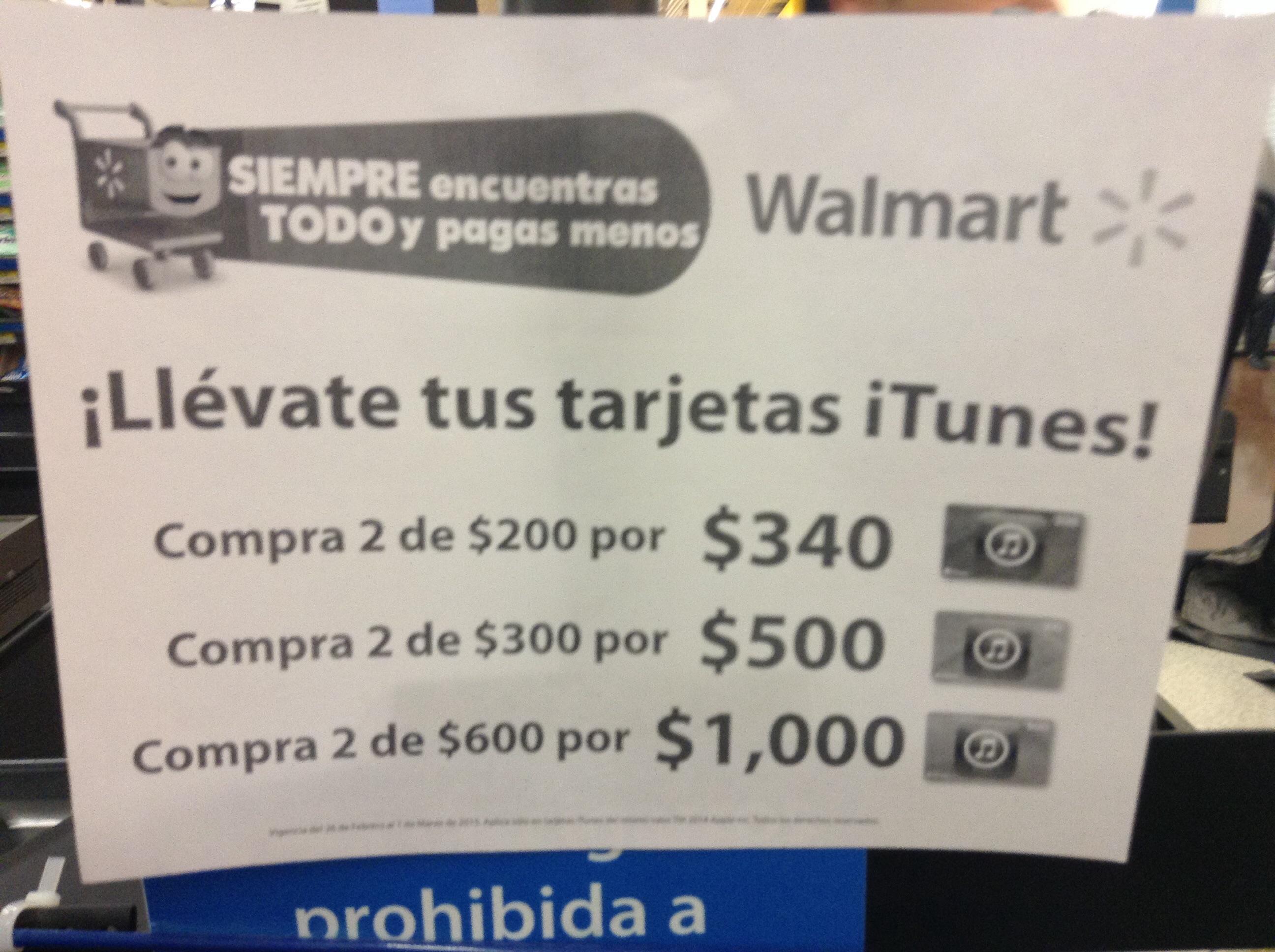Walmart: Promoción en tarjeta de iTunes