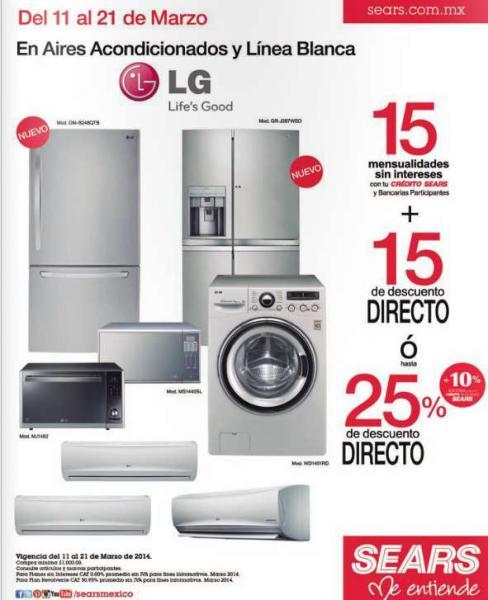 Sears: hasta 25% de descuento en línea blanca y aires acondicionados LG