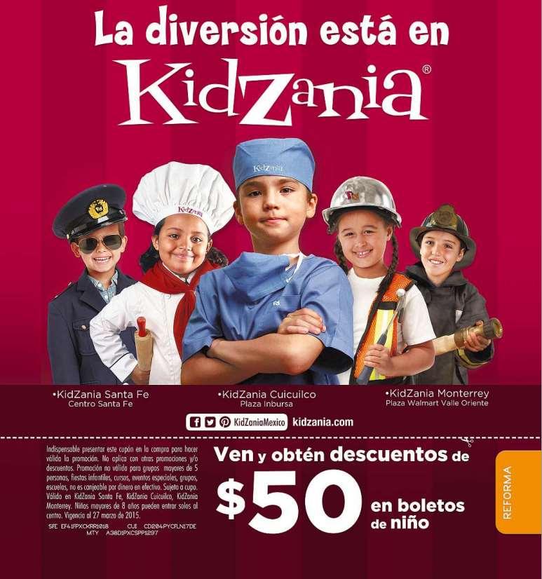 Cupón $50 de descuento para Kidzania