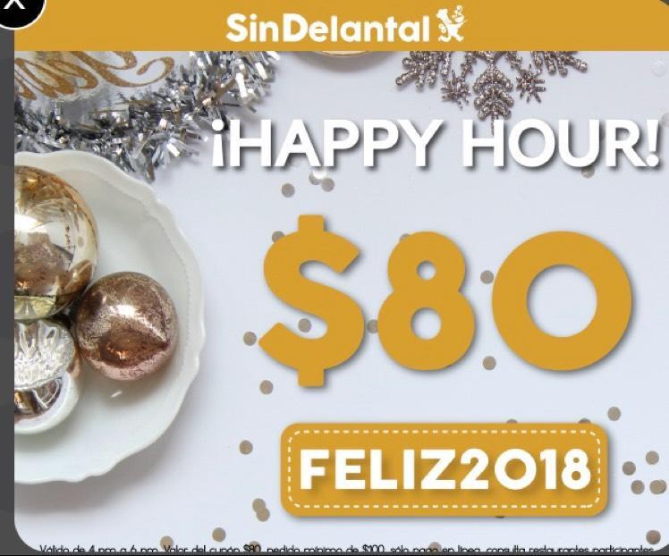SinDelantal: $80 de descuento de 12:00 pm a 2:00 pm, pedido mínimo $100