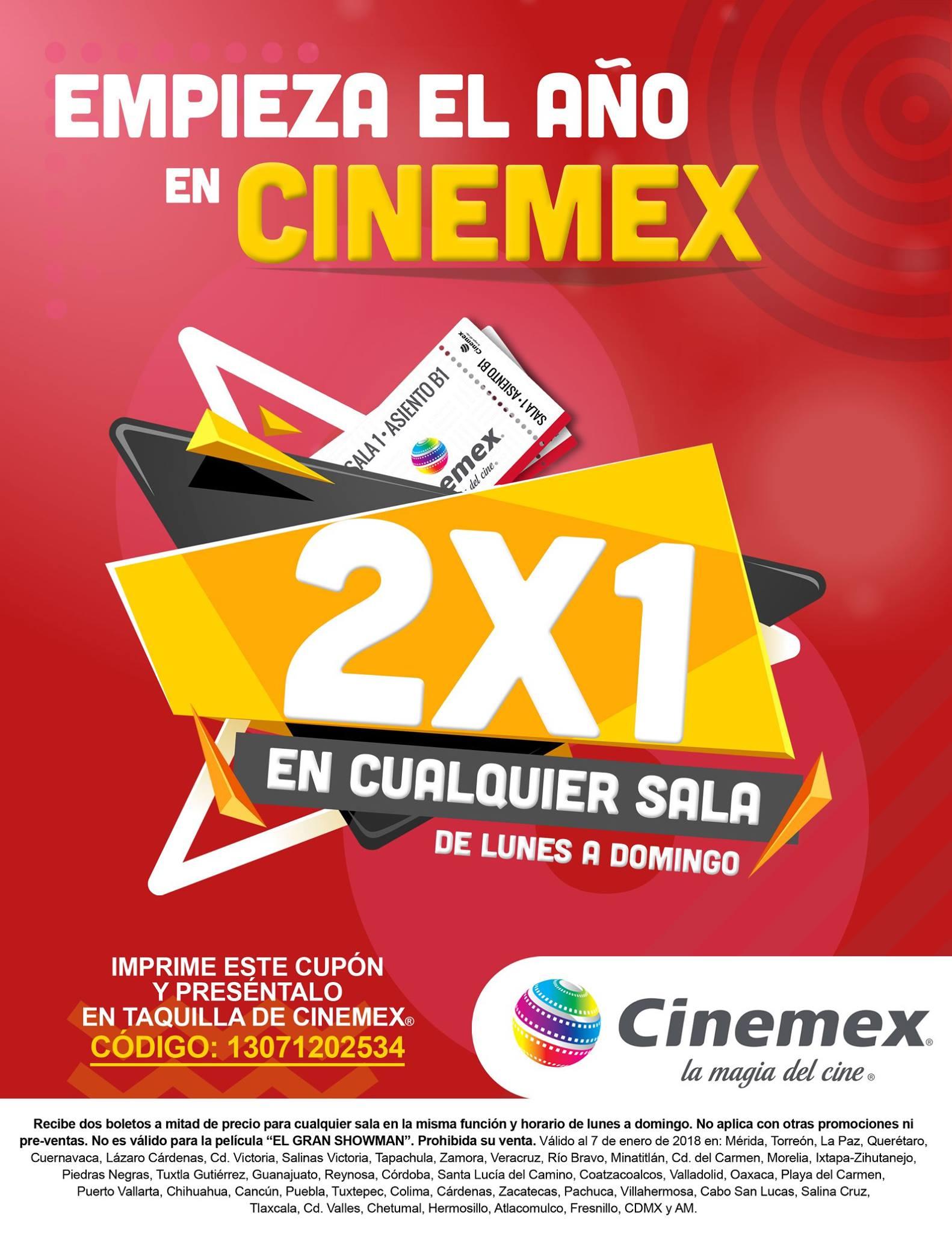 Cinemex: 2x1 en cualquier sala, de lunes a domingo al presentar cupón