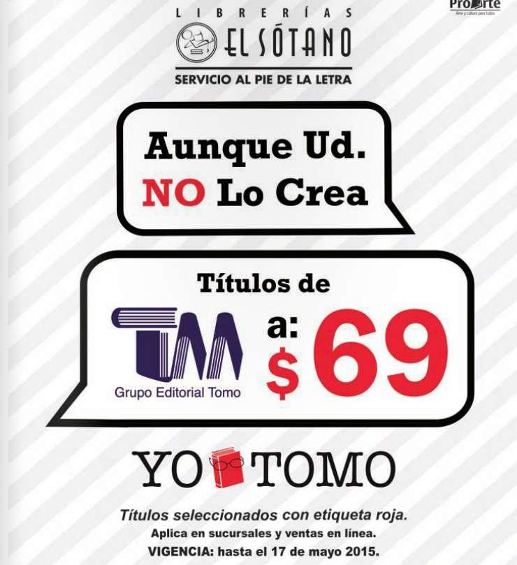 Librerías El Sótano: libros seleccionados de Tomo a $69