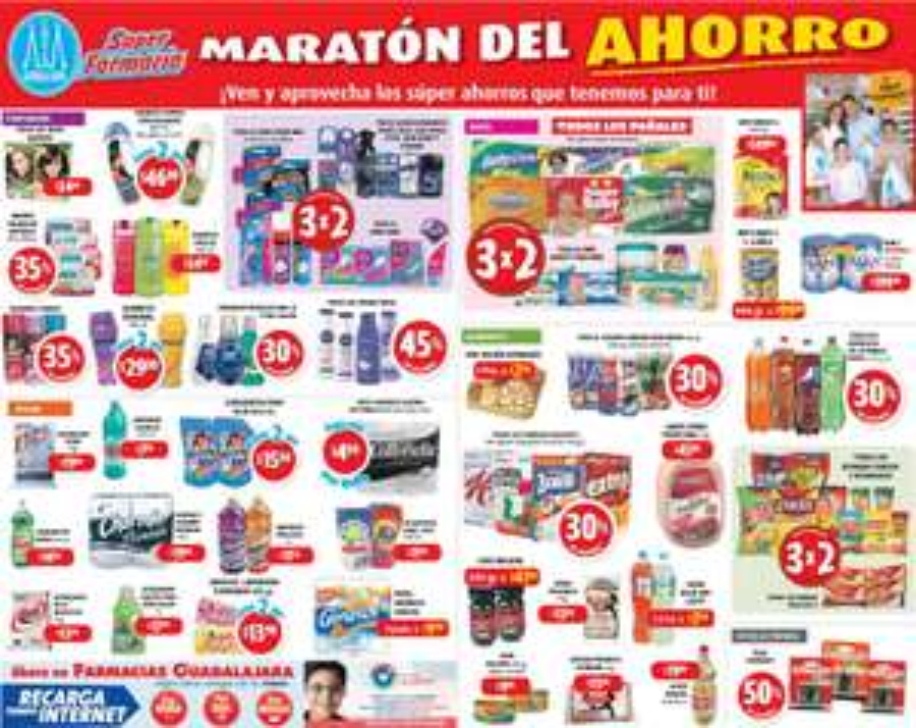Ofertas del Maratón del Ahorro Farmacias Guadalajara incluyendo 3x2 en todos los pañales