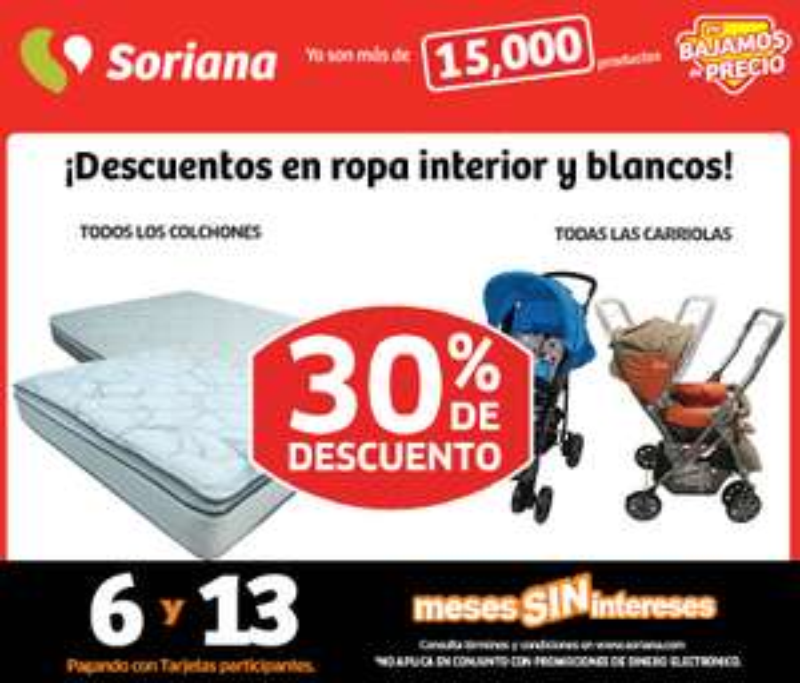 Soriana: 30% de descuento en colchones, carriolas, brassieres y más
