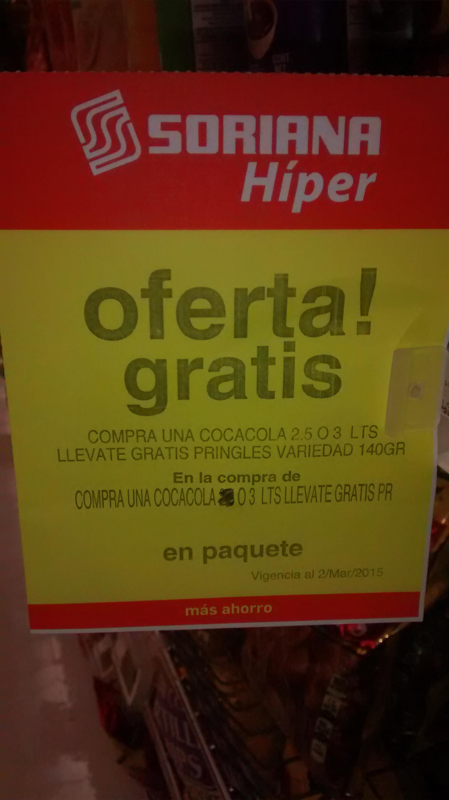 Pringles gratis en la compra de una coca cola de 3 Lts en Soriana