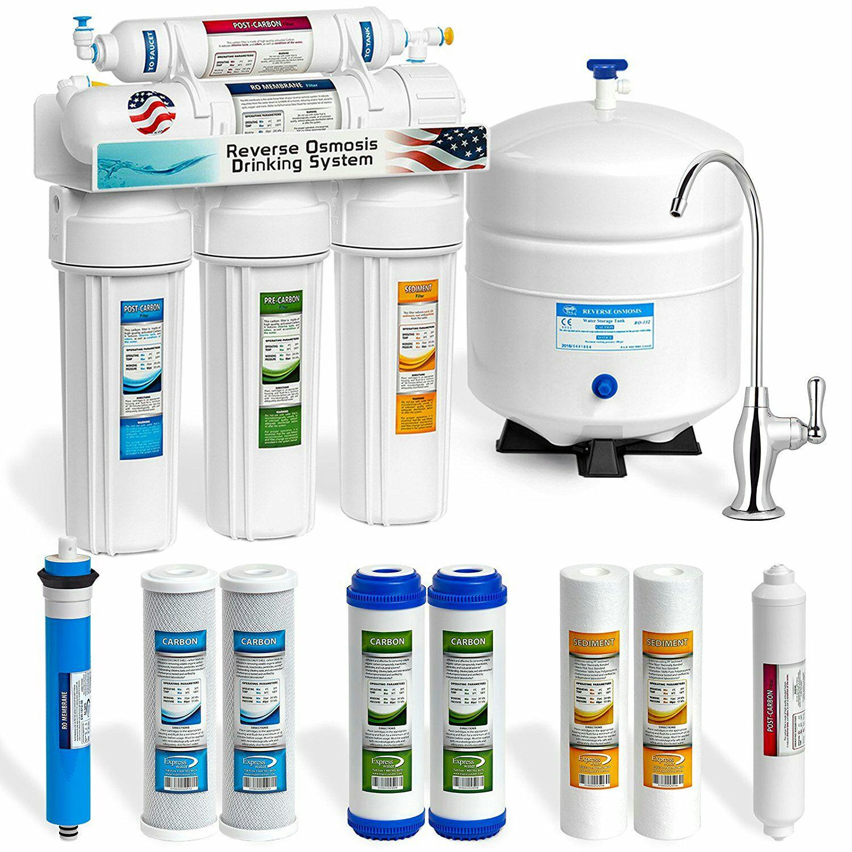 Sistema de filtración de agua potable por ósmosis inversa 5 etapas con extras