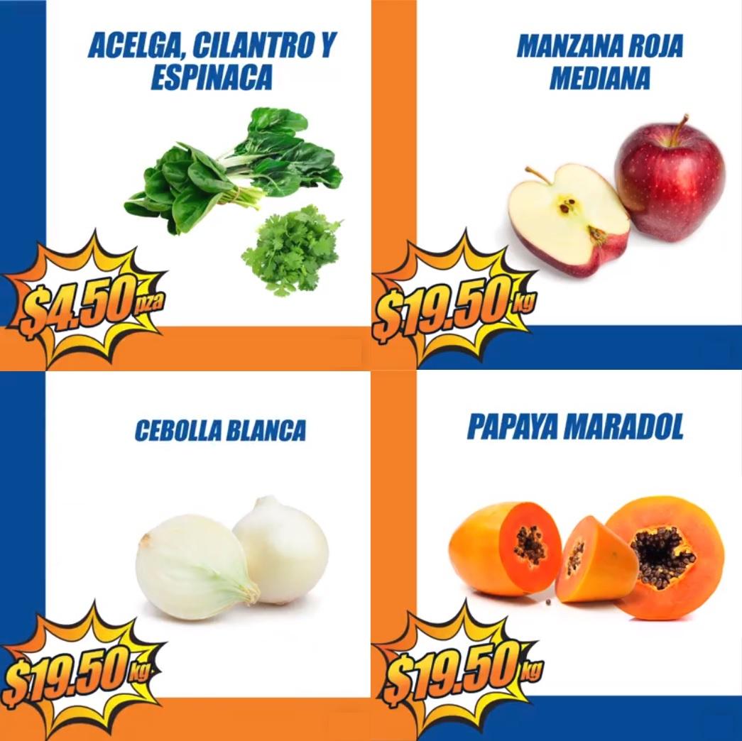 Chedraui: MartiMiércoles de FrutiVerduras 2 y 3 Enero: Acelga, Cilantro o Espinacas $4.50 pza... Manzana Roja Mediana, Cebolla Blanca o Papaya Maradol $19.50 kg.