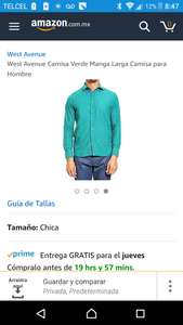 Amazon: Camisa verde West Avenue talla chica