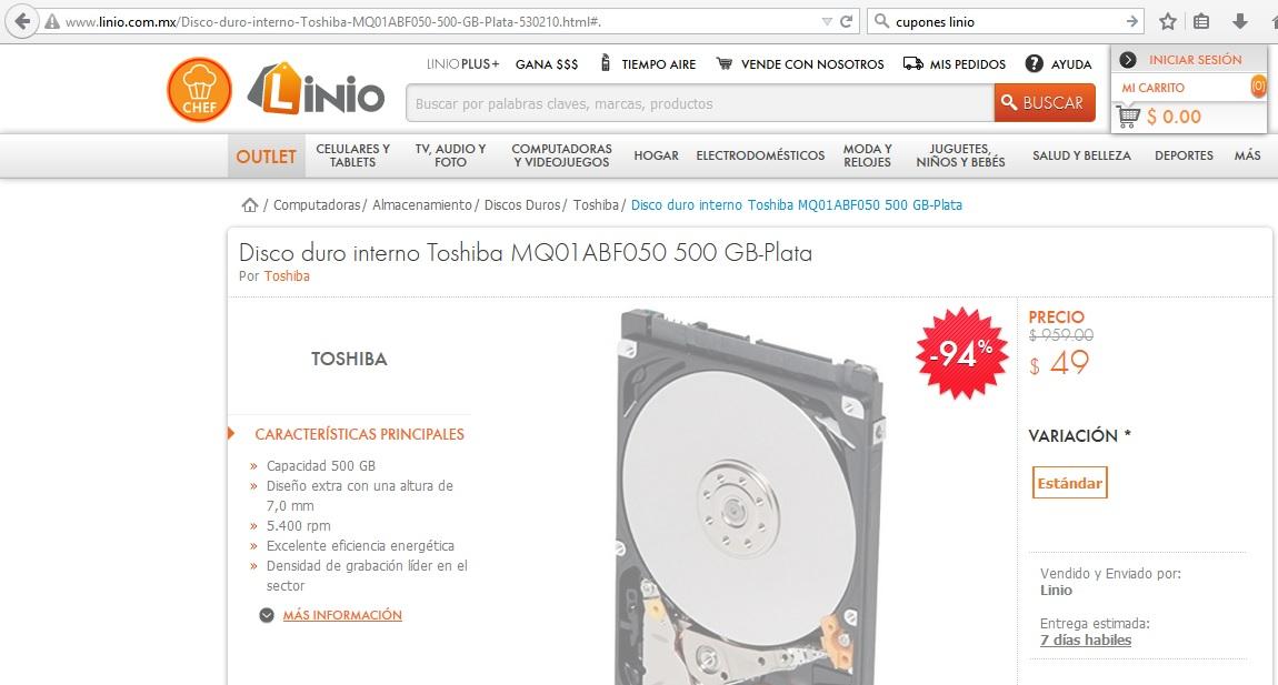 Linio: Disco duro interno Toshiba MQ01ABF050 500 GB a $49