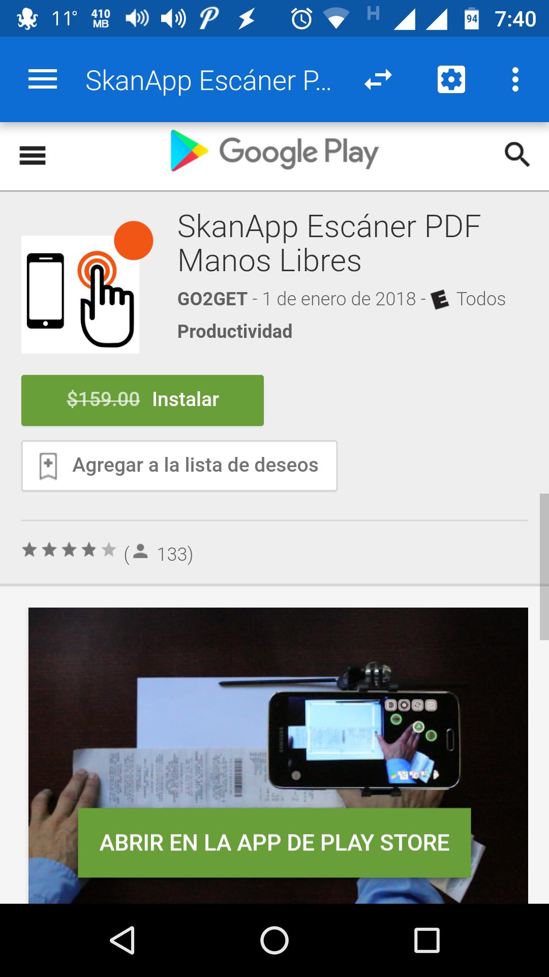 """Google Play: GRATIS  """"SkanApp Escáner PDF Manos Libres"""""""
