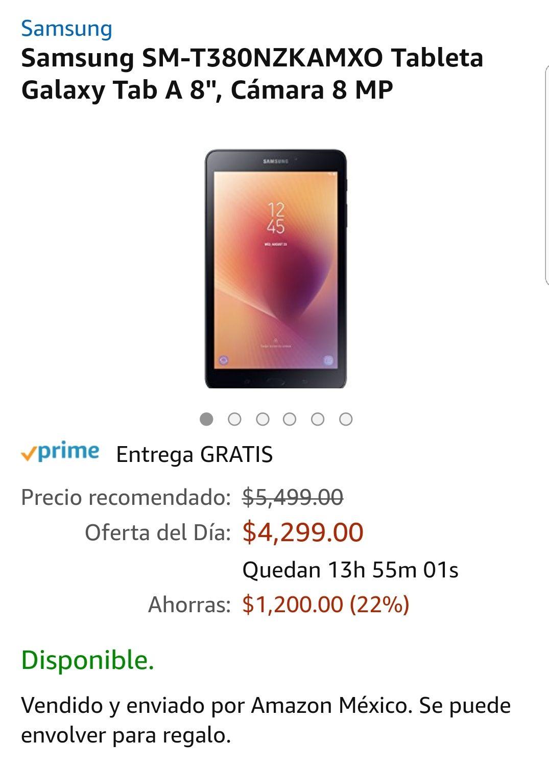 """Amazon: oferta del día Samsung SM-T380NZKAMXO Tablet Galaxy Tab A 8"""""""