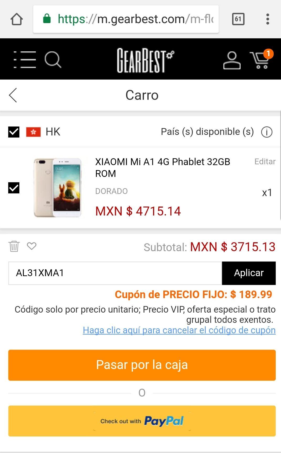 Gearbest: Xiaomi mi a1 color oro con cupón AL31XMA1