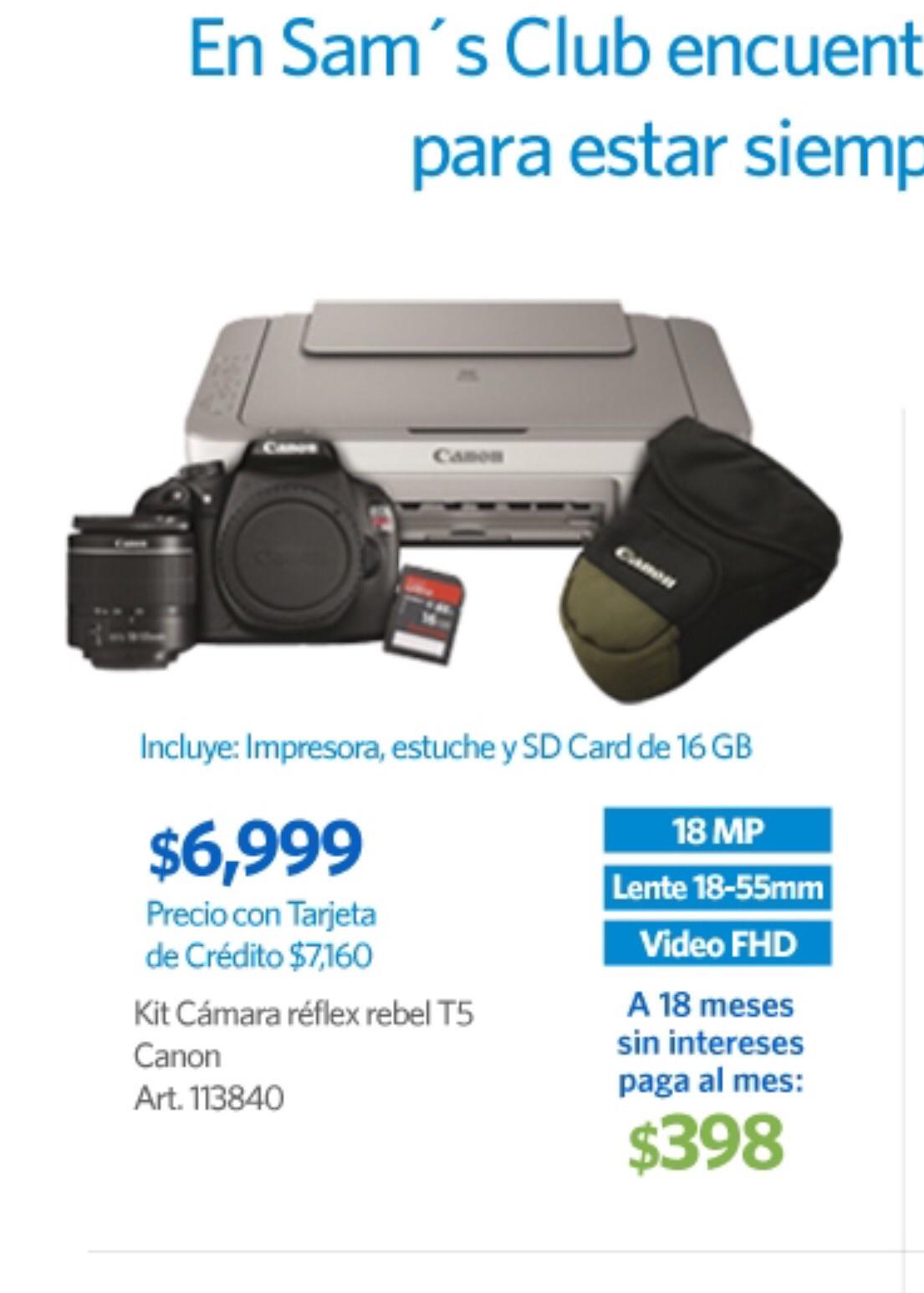 Sam's Club: Paquete cámara DSLR Canon T5 $6,999