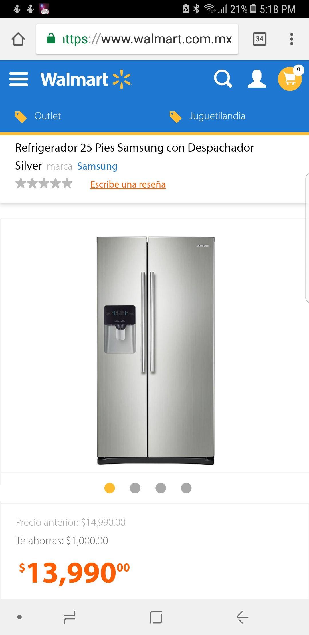 Walmart: Refrigerador Samsung 25 pies tecnología inverter RS25J5008SP a $13,990