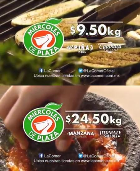 La Comer: Miércoles de Plaza 3 Enero: Calabaza Italiana $9.50 kg... Piña Miel $9.50 kg... Jitomate Saladet $24.50 kg... Manzana Starking $24.50 kg.