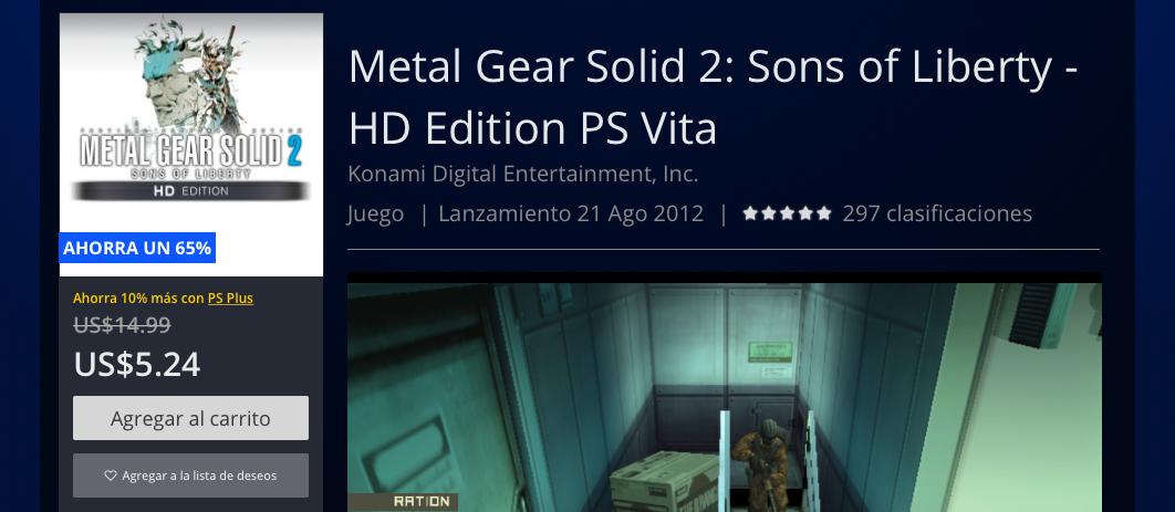 metal gear solid 2 o 3 ps vita PSTORE