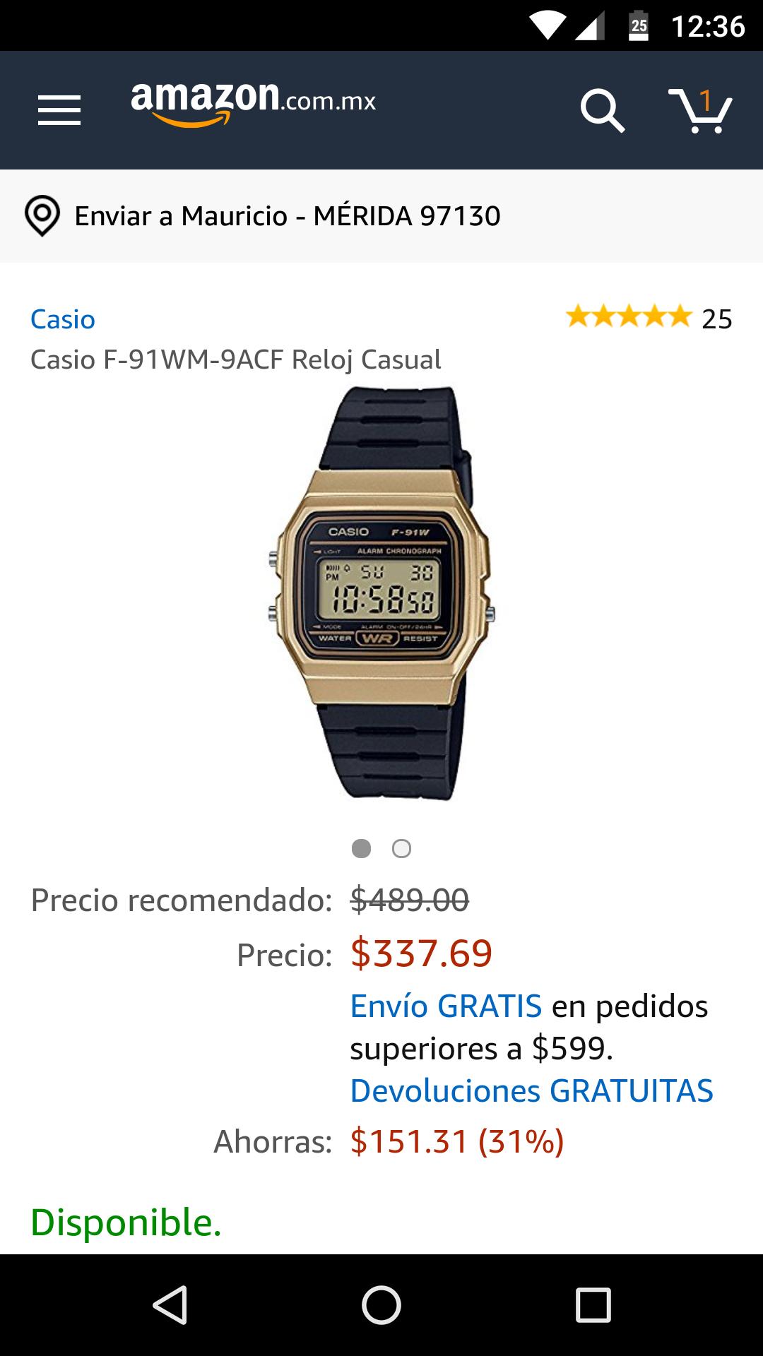 Amazon: Reloj Casio F-91WM Dorado