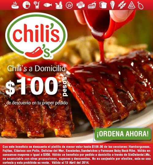 Hasta $100 de descuento en primera compra a domicilio de Chilli's