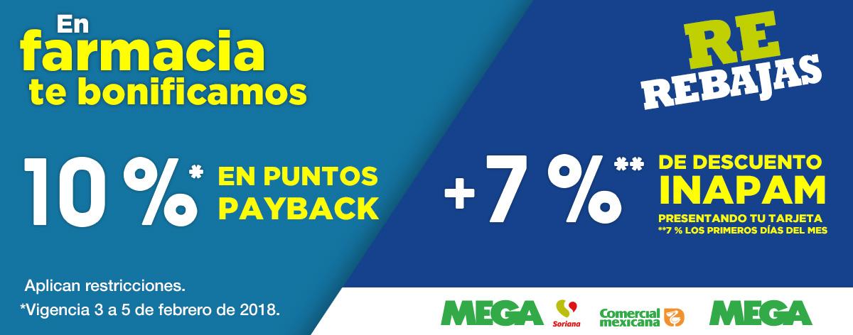 Comercial Mexicana y MEGA: 10% de bonificación en puntos Payback en Farmacia + 7% ó 5% de descuento con INAPAM