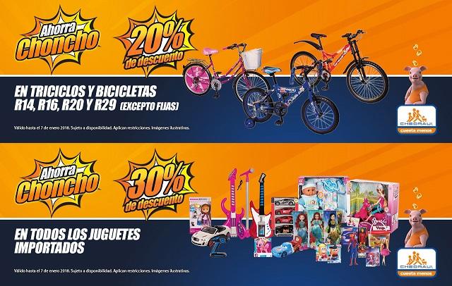 Chedraui: 20% de descuento en triciclos y bicicletas R14, R16, R20 y R29 (excepto fijas)... 30% de descuento en todos los juguetes importados