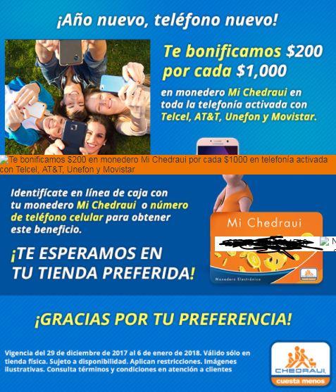 Chedraui: bonificación en monedero de $200.00 por cada $1,000 en Telefonia