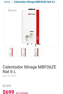 Coppel: Calentador Gas Natural Mirage MBF06ZE