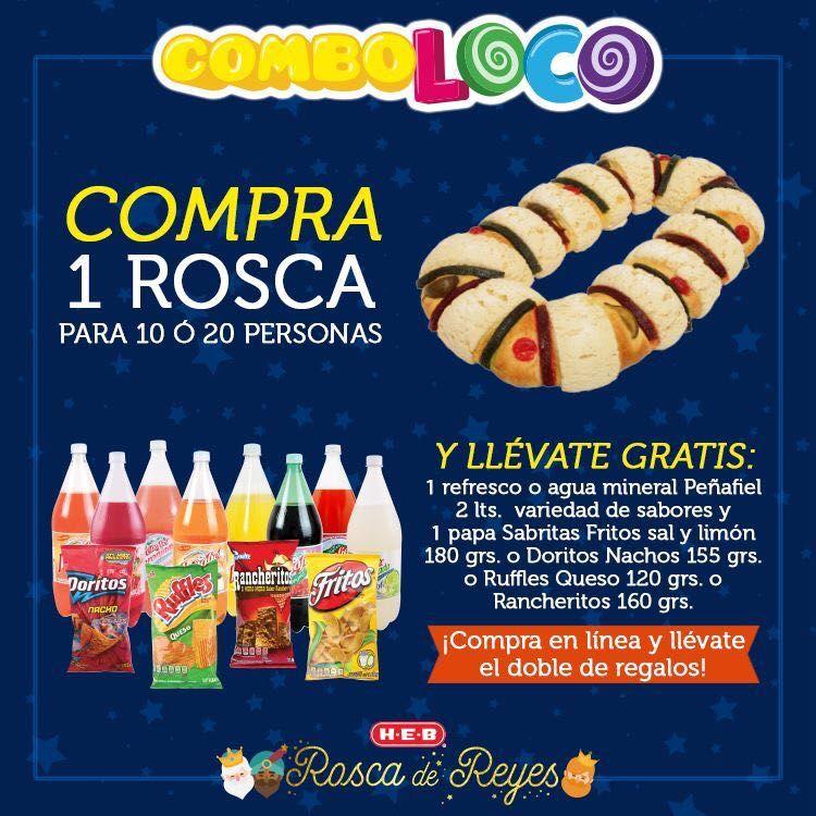 HEB: combo Rosca de reyes, refresco y botana