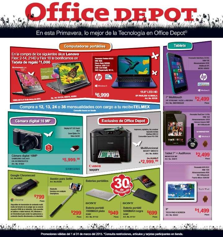 Folleto de ofertas en Office Depot marzo 2015