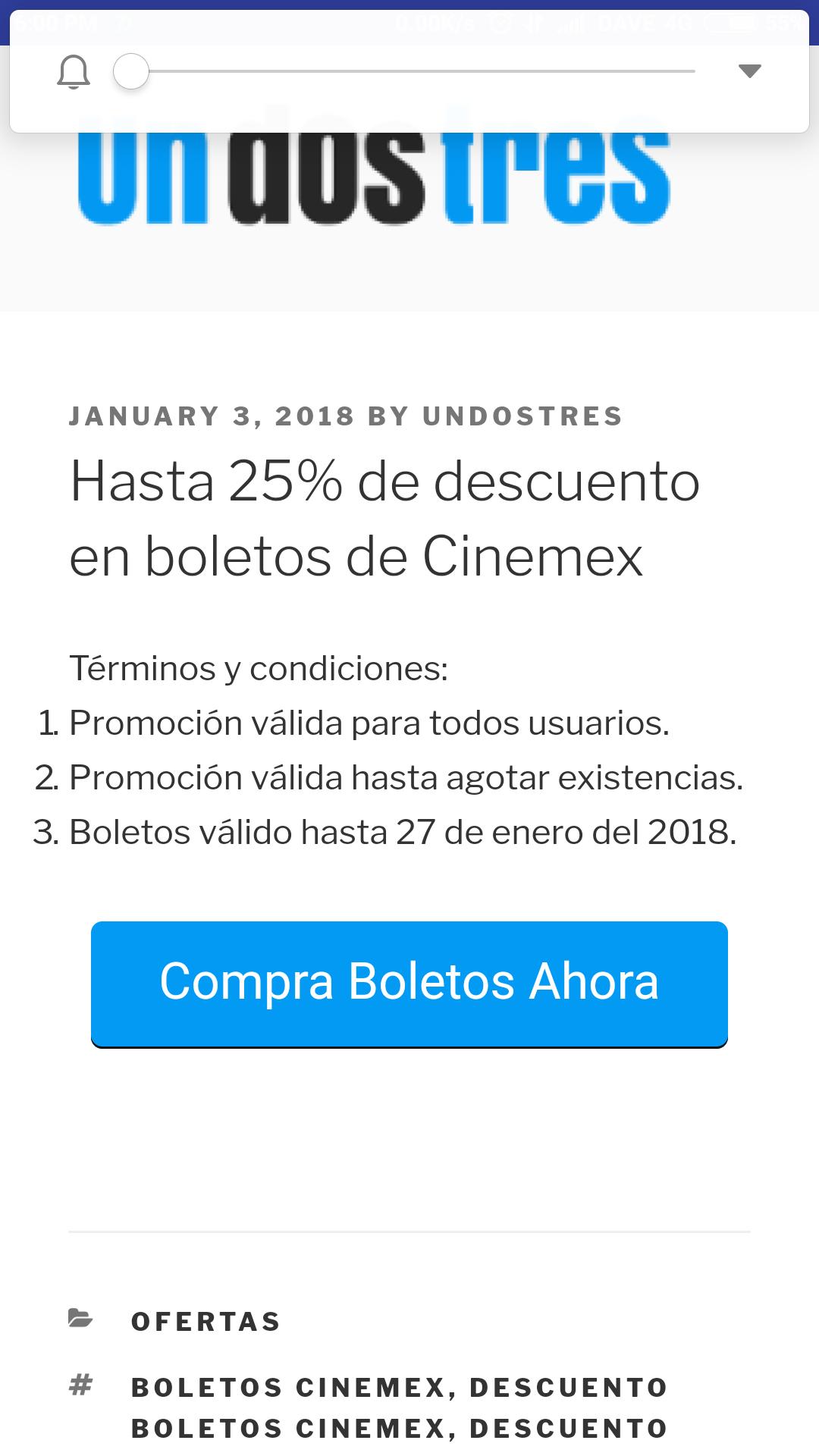 UNDOSTRES: Boletos cinemex con 25% de descuento mas bonificacion en monedero