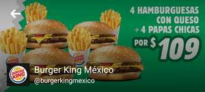 Burguer king: 4 Hamburguesas con queso + 4 papas Kids por $109