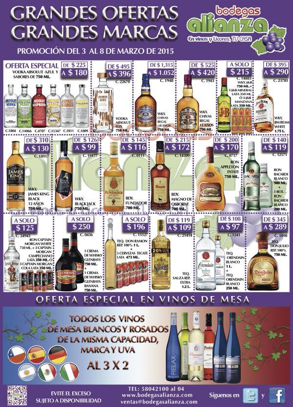 Bodegas Alianza: Bacardi blanco litro + pachita $119, 3x2 en vinos blancos y más
