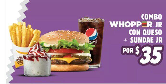 Burger King: Combo WHOPPER Jr + Sundae Jr. por $35.