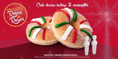 Krispy Kreme: 1 dona + café GRATIS encontrando el muñequito en tu docena de Rosca de Reyes