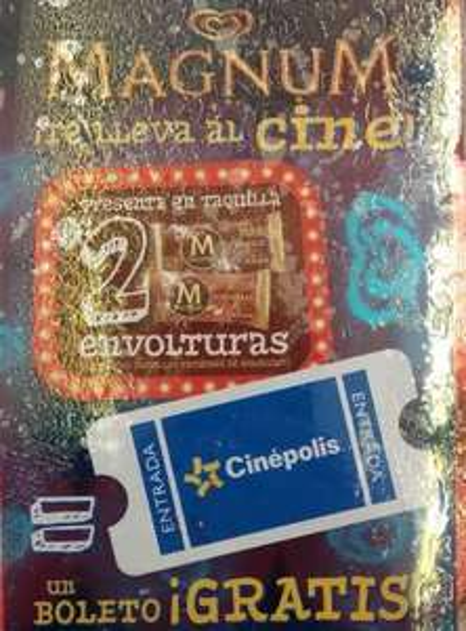 Boleto gratis para Cinépolis de lunes a domingo con 2 envolturas de Magnum