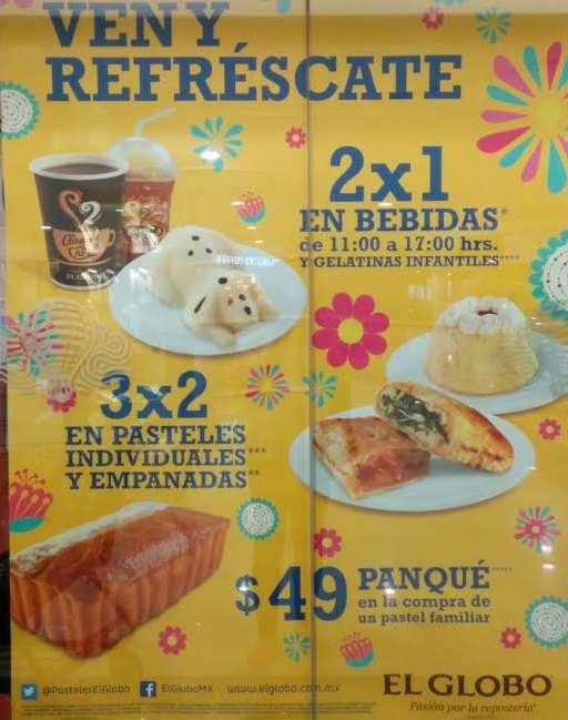 El Globo: 2x1 en bebidas, 2x1 en gelatinas infantiles, 3x2 en pasteles individuales y más