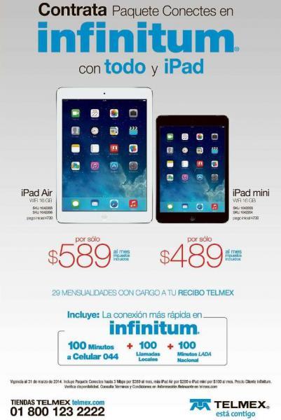 Telmex: iPad Air con pago inicial de $799 y $200 al mes con Paquete Conectes